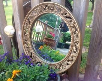 Vintage Round Gold Framed Mirror Rose Framed Mirror Round Wall Mirror Round Vanity Mirror