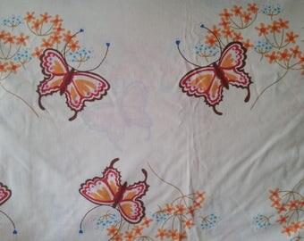 Marlene Designs 1975 Butterflies Twin Size Flat Sheet