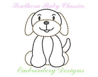 Hound Dog Vintage Bean Quick Stitch Line Work Design File for Embroidery Machine Instant Download Cute Baby Boy Girl Tennessee