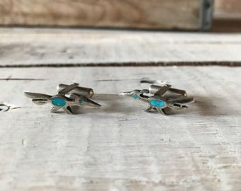 Vintage Navajo Road Runner Turquoise Southwest Cuff Links