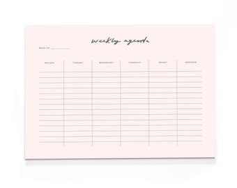 Blush Pink Weekly Agenda A4 Wall Planner - A4 Desk Pad - Motivational Stationery - Positive Notepad