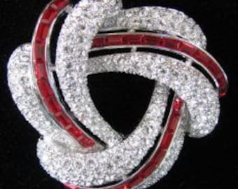 Nolan Miller Crystal Brooch in Silver Tone with Red Baguettes - S2437