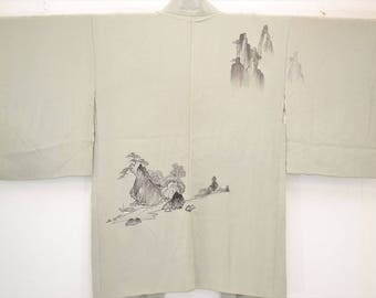 HAORI JACKET G58a – Hand-painted Chinese Riverside Landscape