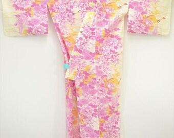 YUKATA KIMONO G96a - Tree Peony Wisteria Chrysanthemum