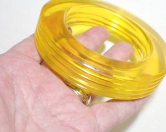 Big and Chunky Transluscent Yellow Lucite Bangle Bracelet