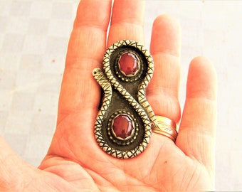 Sterling Silver Carnelian Over Sized Navajo Snake Ring Size 10