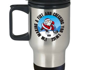 Making a Fist Funny Hockey Christmas Gift Travel Mug Xmas Coffee Cup