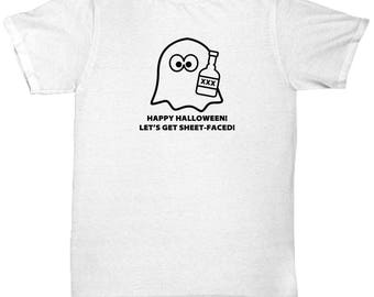Halloween Costume Ghost Sheet Faced Funny Gift Shirt Drinking Shirts