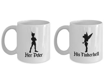 His Tinkerbell and Her Peter Pan Mug Gift Coffee Cup Disney (SET of 2) Tink Couple Love Gifts