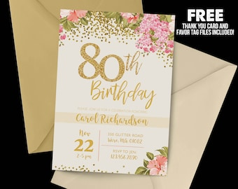 Handmade 80th birthday invitations etsy 80th birthday invitation 1938 80th birthday floral invitation milestone birthday gold party filmwisefo