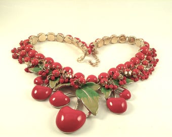 Up-cycled Vintage Red Cherry/Red Berry Necklace/Bib Necklace/Fruit Salad/OOAK Necklace/Repurposed Jewelry/Statement Necklace/Boho