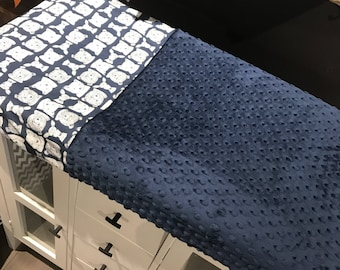crib sheet for changing mat, animals (bears, foxes, deers ) on navy , navy minky