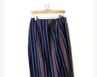 ON SALE Vintage Blue x Multi color Stripe Cotton Wrap Skirt/27-32*