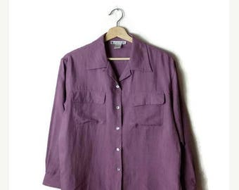 ON SALE Vintage Pale Purple Pure Silk Long Sleeve Slouchy Blouse*
