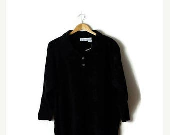 Clearance SALE 40% off Vintage Oversized Plain Black Acrylic collared  Sweater from 90's/Minimal/Minimalist/Jumper*