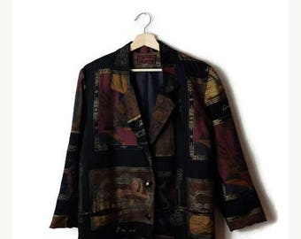 ON SALE Vintage Black x  Abstract Slouchy Blazer /Jacket from 1980's*