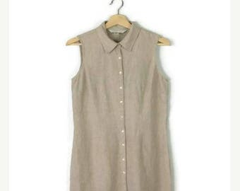 ON SALE Oatmeal Pure Linen Button down Sleeveless Dress from 90's/Minimal dress*
