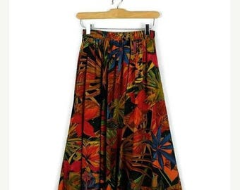 ON SALE Vintage Colorful Floral/Botanical Flare Skirt from 1980's/W23-33*