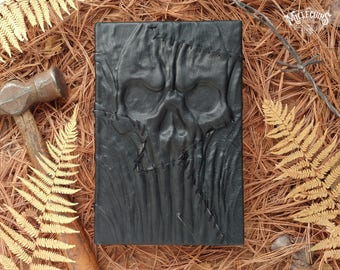 Black Skull handmade leather journal, dark goth strange bookbinding handcrafted hardcover grimoire noir, scary black book, larp sketchbook