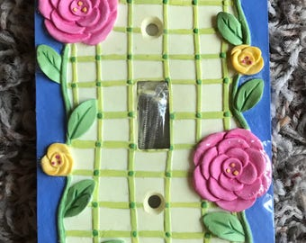NEW Bright Colored Pretty Floral Rose Single Light Switch Plate Cover, Shabby Chic Home Decor Decorating Accent Pink Yellow Roses Flowers