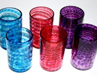 set of six spiral glasses aqua blue hot pink u0026 purple hand