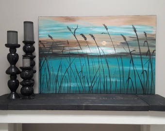Landscape Painting Original Scenic Painting Handmade Painting Sunset Painting Modern Landscape Home Decor Painting 24x36  byjillsfineart