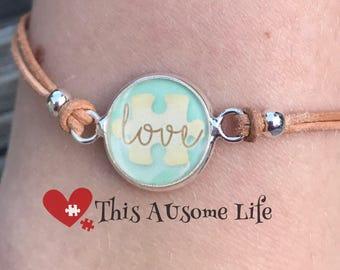 "Autism puzzle piece ""Love"" bracelet Love and Hope Series Autism Awareness"