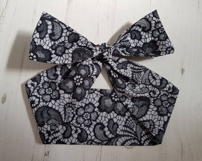 50s Black Lace Effect Bow Head Scarf - Rockabilly Psychobilly Pin Up Girl Hair