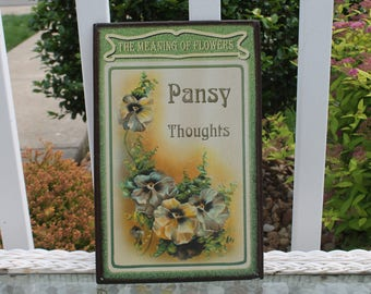 Print of Pansies on Metal - Pansy Thoughts - The Meaning of Flowers Print