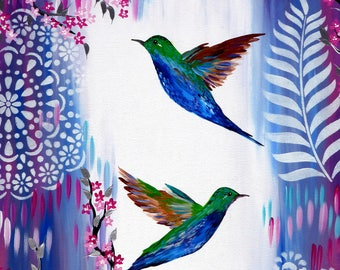 """painting, paintings,wall art, with, cherry blossom,pink painting,  paintings with, pink, and, white, blue, purple, green, large,big, 36""""x24"""""""