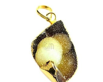 45% OFF Rough Geode Druzy Pendant 22k Gold Electroplated Gemstone Druzy Necklace Pendant (NP-50884)