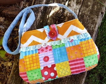 Toddler Patchwork Purse, Girl's  Purse with Matching Coin Purse, Girl's Chevron Purse, Easter Purse, Flower Girl Purse