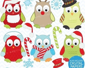 80% OFF SALE 80 Percent 0FF Sale Christmas owls clipart, commercial use, vector graphics, digital clip art, digital images - Cl370