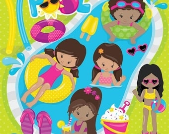 80% OFF SALE Pool party girls clipart commercial use, kids vector graphics, vacation kids digital clip art, digital images  - CL859
