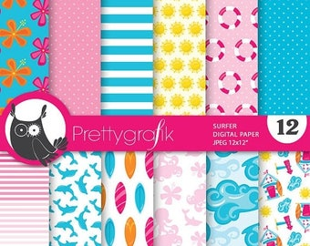 80% OFF SALE Surfer surfing digital paper, commercial use, scrapbook papers, background, beach, vacation - PS746