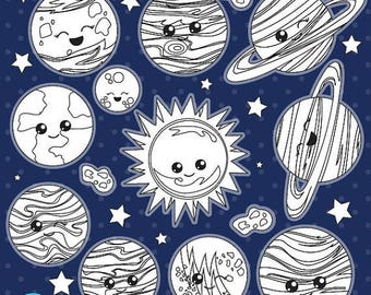 80% OFF SALE Solar system digital stamp commercial use, vector graphics, digital stamp  - DS1024
