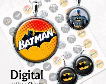 Superhero Batman Bottlecap Digital Collage Sheet 1,5 inch, 1 inch Jewelry Supplies, Bottle Caps, Crafts, Scrapbooking