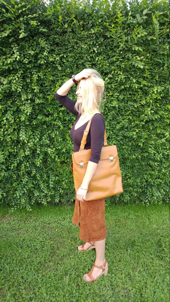 Leather Laptop Bag, Genuine Leather Tote bag, Office tote Bag, Vertical Satchel, Handmade Leather Bag,