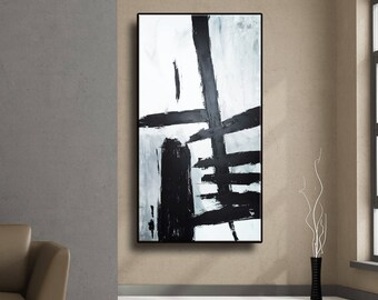"""48"""" Black Gray White Original Abstract Acrylic Painting Wall Art Large Painting Modern Art Wall Decor AUL095"""
