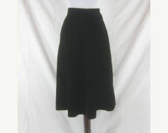 On sale Vtg 40s 50s Black Womens Vintage Velvet Skirt W 27