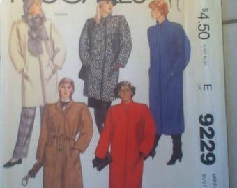 "McCall's Coat Pattern 9229  Size: 14, Bust 36"", Waist 28"", Hip 38"""