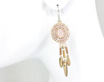 Rose Quartz Earrings with Gold & Pink Fringe