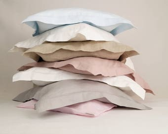 Linen pillow cases, oxford pillow, pillow covers, linen shams   - choose your color