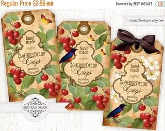 ON SALE Cherry Confiture. Digital collage sheet. Set of 3. Printable download.