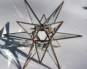 Med. Stained Glass Tree Topper, Beveled Clear Glass, Moravian Star, Tree Top Decoration, Christmas Star Ornament, 12 Point Star Copper