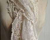 Lace Ivory Scarf, Vintage Look, Oblong Ivory Lace Scarf, Delicate Lace Look, Multiple Ways to tie and Wear,Beautiful piece By UPcycled Works