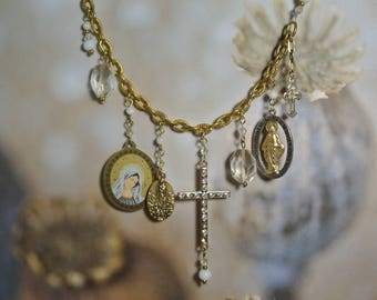 Vintage Cross Assemblage Necklace, Religious Medallions, Found Treasures, One of a Kind By UPcycled Works