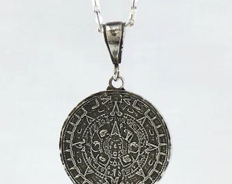 TONALAMATL - AZTEC CALENDAR Small Pendant sterling silver - burnt silver - antiqued silver