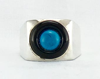TURQUOISE AND ONYX sleeping beauty turquoise  art deco style men's ring.