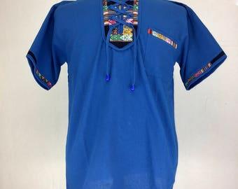 PERUVIAN MENs TOP - Royal blue